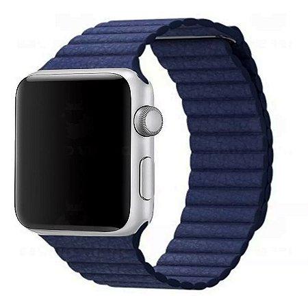 Pulseira Couro Loop Para Apple Watch 42/44mm Azul Top