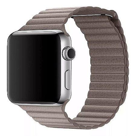 Pulseira Couro Loop Para Apple Watch 42/44mm Khaki