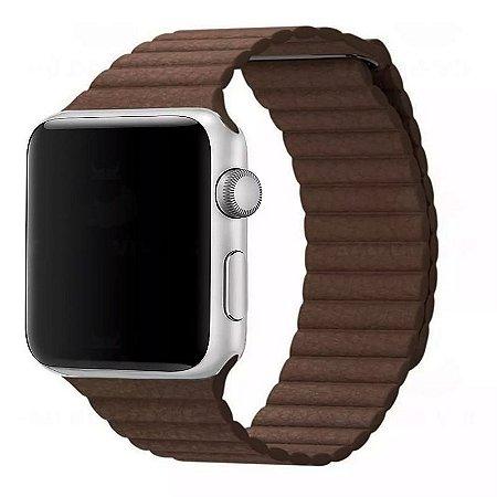 Pulseira Couro Loop Para Apple Watch 42/44mm Marrom