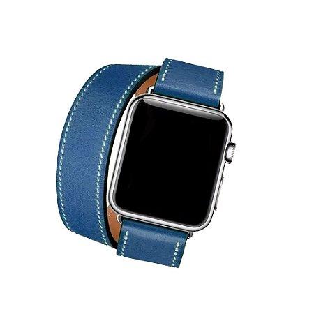 Pulseira Couro Double Tour P/ Apple Watch Azul 42/44mm