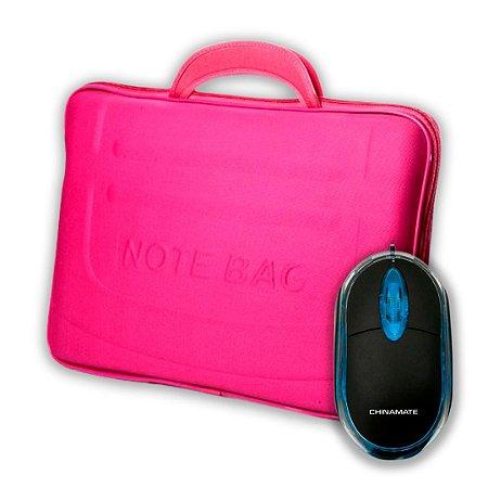 Kit Case para Notebook 15,6 Rosa + Mouse