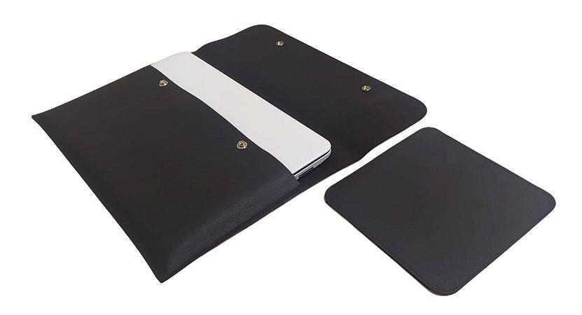 Capa para Notebook 15,6 Couro Sintético Preto com Mouse Pad