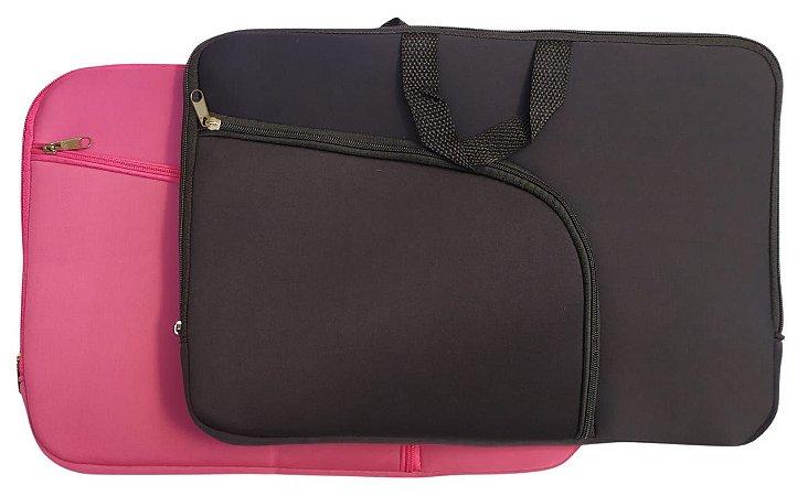 Kit Capa para Notebook 15,6 Preta com Bolso + Capa para Notebook 15,6 Rosa com Bolso