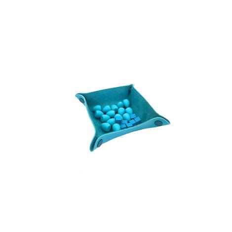 Bandeja de Peças em Couro Ecológico Azul Claro 13x13
