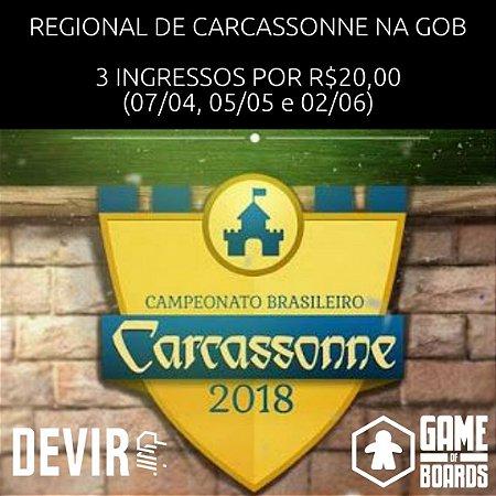 COMBO REGIONAL CARCASSONNE 2018 - 3 INGRESSOS POR R$20,00