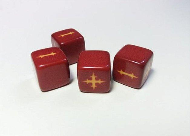RPG FATE - Dados 6 Faces, Kit com 4 unidades - Vermelho Classico