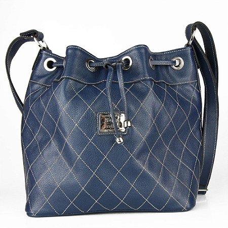 Bolsa de Couro Legítimo Jasmine, azul