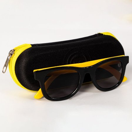 Óculos de Sol Preto/Amarelo Infantil - FC Cascavel