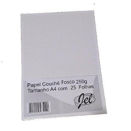 Papel Couchê Fosco 250g  Tamanho A4 com 25 Folhas