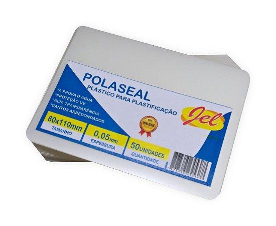 Plástico para Plastificação Polaseal Tamanho 80X110mm 125 Mícron Pacote com 50 Plásticos