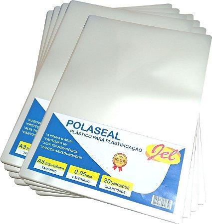 Plástico para Plastificação Polaseal Tamanho A3 125 Mícron Pacote com 20 Plásticos
