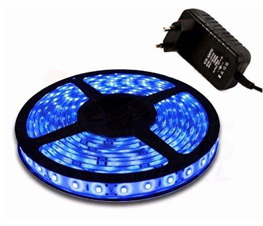 Fita LED Azul Siliconada Prova D'água com 5 metros + Fonte