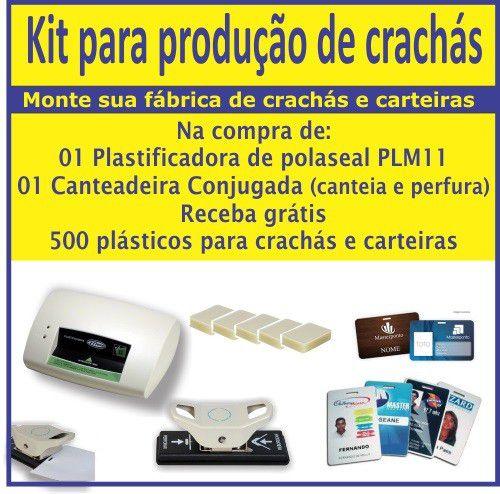 Kit para produção de crachás | plastificadora, canteadeira e perfurador ovoide