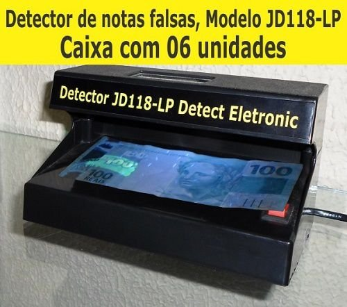 Detector de dinheiro falso,cartões e documentos falsos JD118-LP Detect Eletronic - Bivolt (CAIXA com 06 unidades)