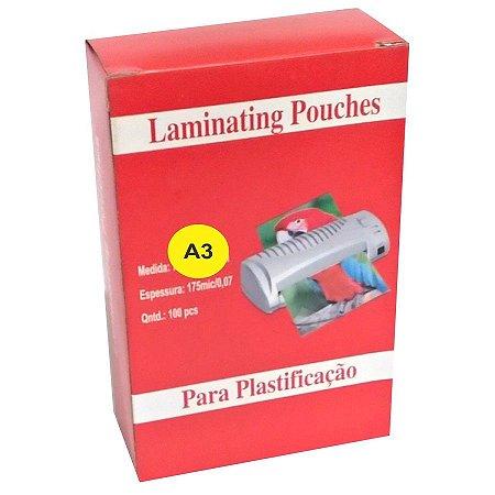 Pouch Film 303x426 Milimetros Espessura 0,05 Polaseal Tamanho A3 125 Micron Pacote com 100 plásticos