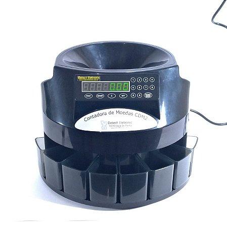 Máquina Classificadora e Contadora de Moedas Automática Detect Eletronic Mod. CDM2