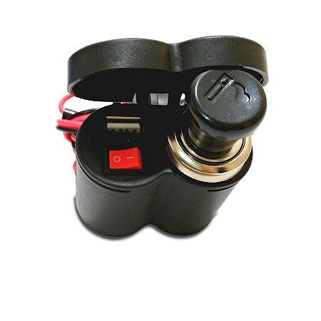 Tomada Carregador De Celular 12v E Usb 5v Moto A Prova D'gua GPS e Acendedor de Cigarros
