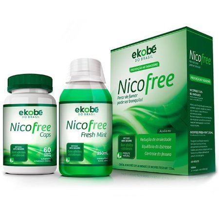 NicoFree kit - Anti-Tabagismo - 60 cáps + Fresh Mint 250ml