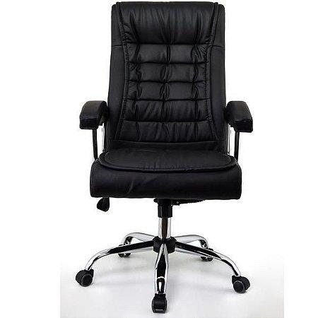 Cadeira Escritório Presidente Mola Ensacada Couro PU Preta