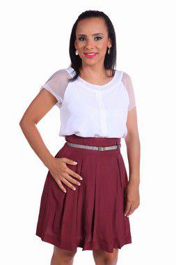 CONJUNTO SOCIAL EXECUTIVO FEMININO COM BLUSA MANGA DE TELA + SAIA COM PREGAS, CÓIS E FORRO