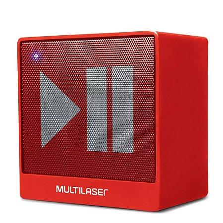 Caixa de Som Mini Aux 8W Bluetooth Vermelha Multilaser