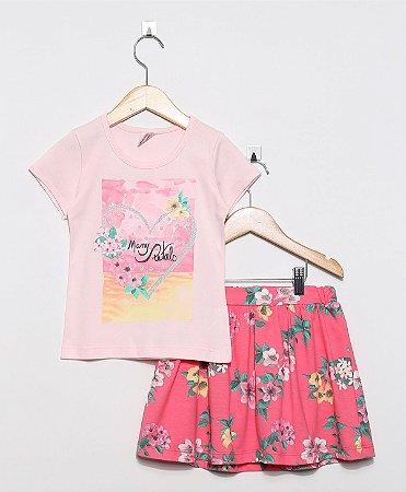 a04c3468a7300c Conjunto Infantil Saia Brandili Rosa Claro e Floral