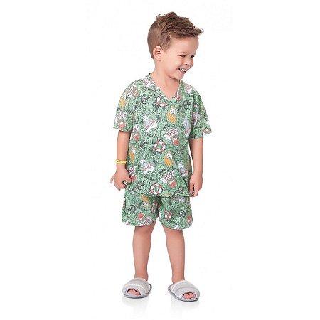 39fc6b18e9 Pijama Infantil Masculino Camiseta e Bermuda Marinheiro Fakini ...