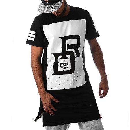 Camiseta Longline Drump Masculina DR Preta Com Ziper