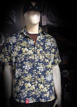 Camisa Floral Manga Curta Botão Masculina DRUMP
