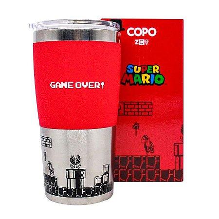 Copo viagem Mario Game Over Retro Gamer