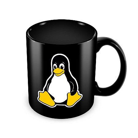 Caneca Tux Linux preta