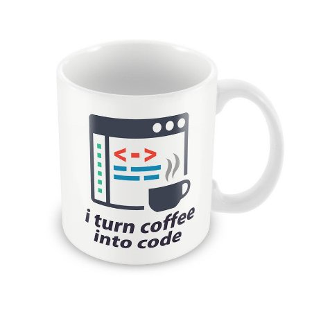 Caneca I turn coffee into code