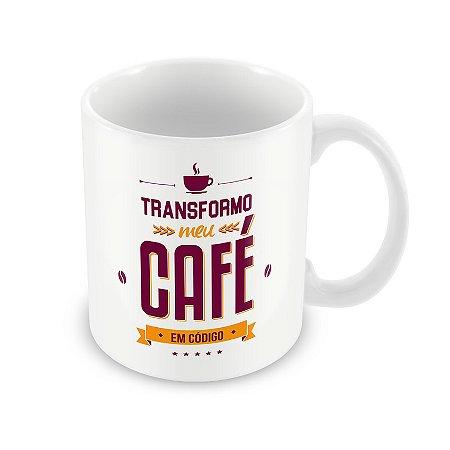 Caneca Transformo Meu Café em Código