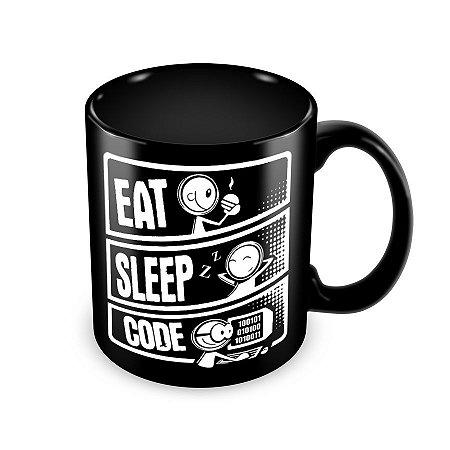 Caneca Eat Sleep Code preta