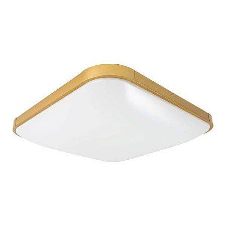 Plafon Enzo Branco/preto ou ouro Quadrado P/ 2 LED E27 30cm Starlux