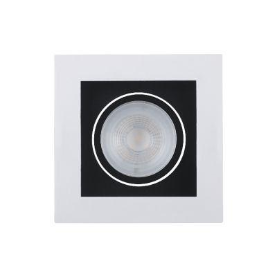 Spot embutido quadrado recuado - branco fundo preto com LED integrado 5w 2700k - bivolt.