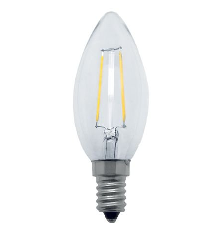 Lâmpada vela lisa filamento LED 2w 2700k 127v. (6953)