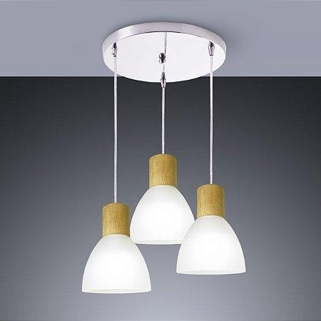 Pendente Anello wood 3 para 3 lâmpadas e-27. (1564)