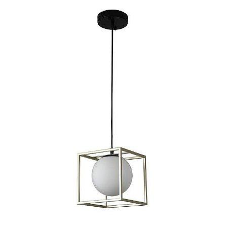 Pendente Globo ao Cubo - metal e vidro leitoso para 1 lâmpada e-27. (5449)