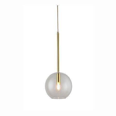 Pendente metal dourado + vidro clear - para 1 lâmpada g9 (4888)