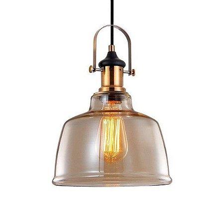 Pendente Vintage Soho vidro ambar p/1 lâmpada e-27. (2830)