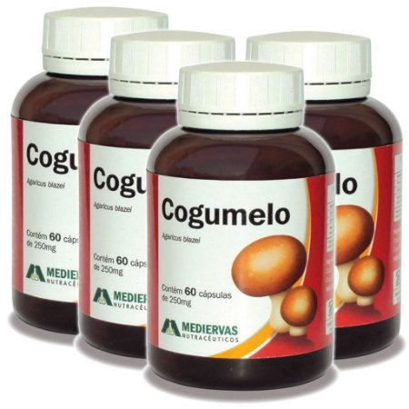 Kit 4 Und Cogumelo Agaricus Blazei 60 caps 250mg Mediervas
