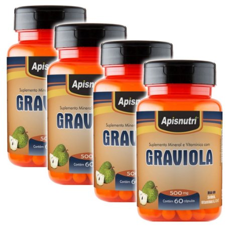 Kit 4 Und Graviola 60cps 500mg Apisnutri