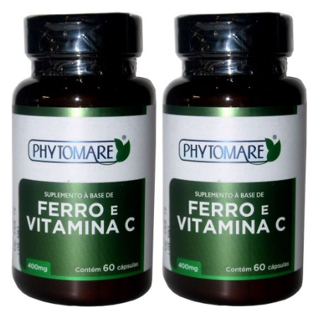 Kit 2 Und Ferro e Vitamina C 60cps 400mg Phytomare