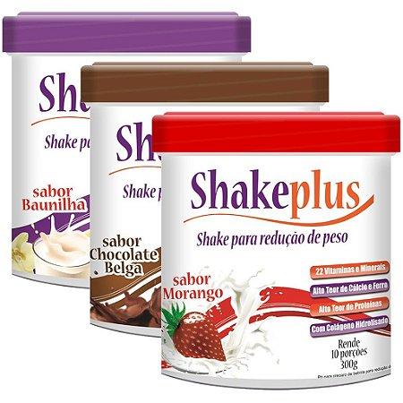 Kit 3 Sabores Shakeplus 300g Duom (Baunilha, Chocolate e Morango)