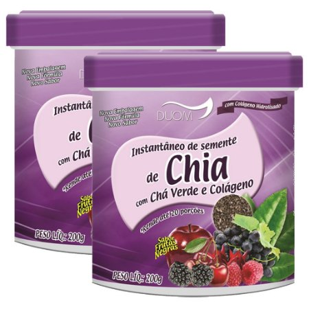 Kit 2 Und Instantâneo de Chia, Chá Verde e Colágeno 200g Duom