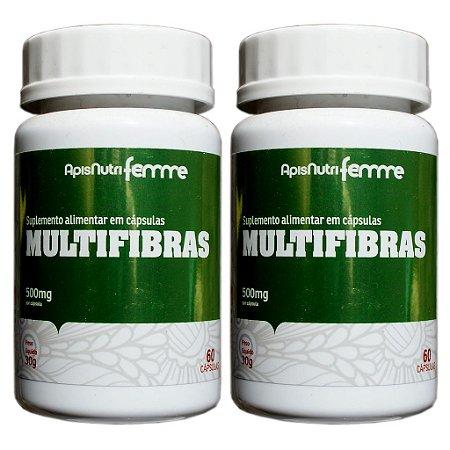 Kit 2 Und Multifibras 60cps 500mg (Quitosana, Ágar-Ágar, Clorela, Psyllium e Spirulina) Apisnutri