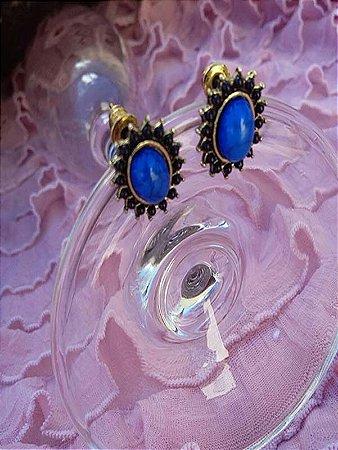 Brinco Pequeno Bijuteria Cor De Ouro Pedra Azul