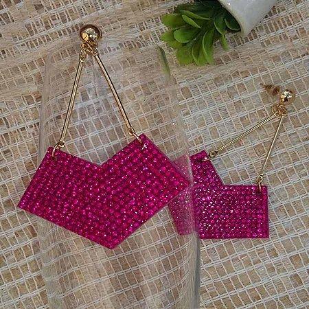 Brinco Bijuteria strass Pink PROMOÇÃO