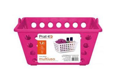 caixa Organizadora Cesto Plástico Empilhável 2,2 L - Rosa